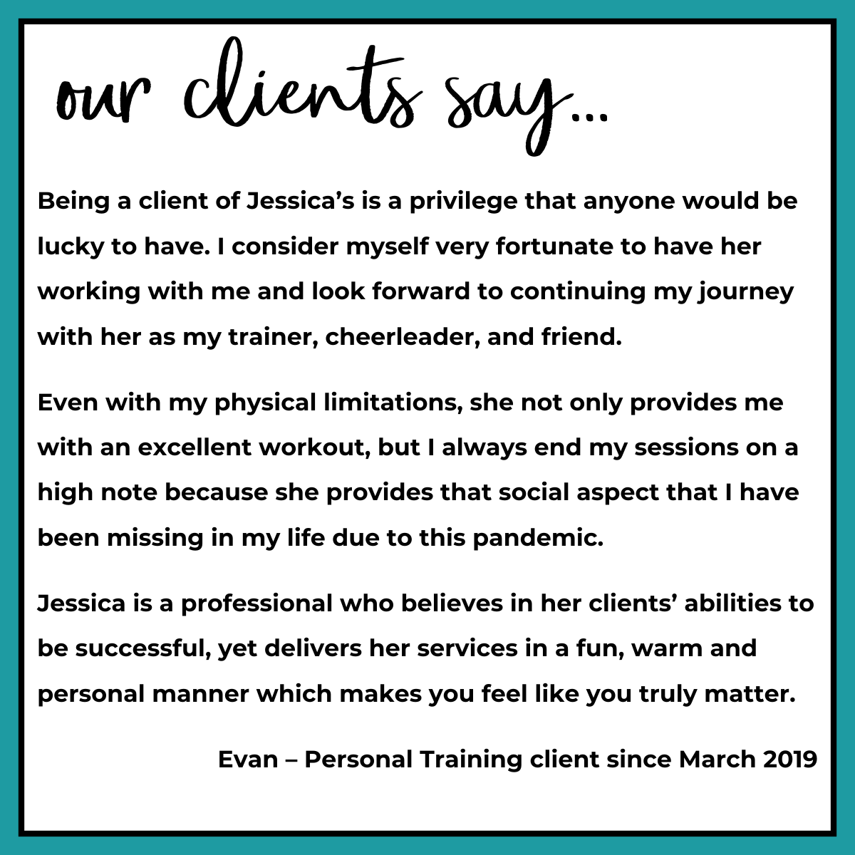 Testimonial about Jessica from client Evan